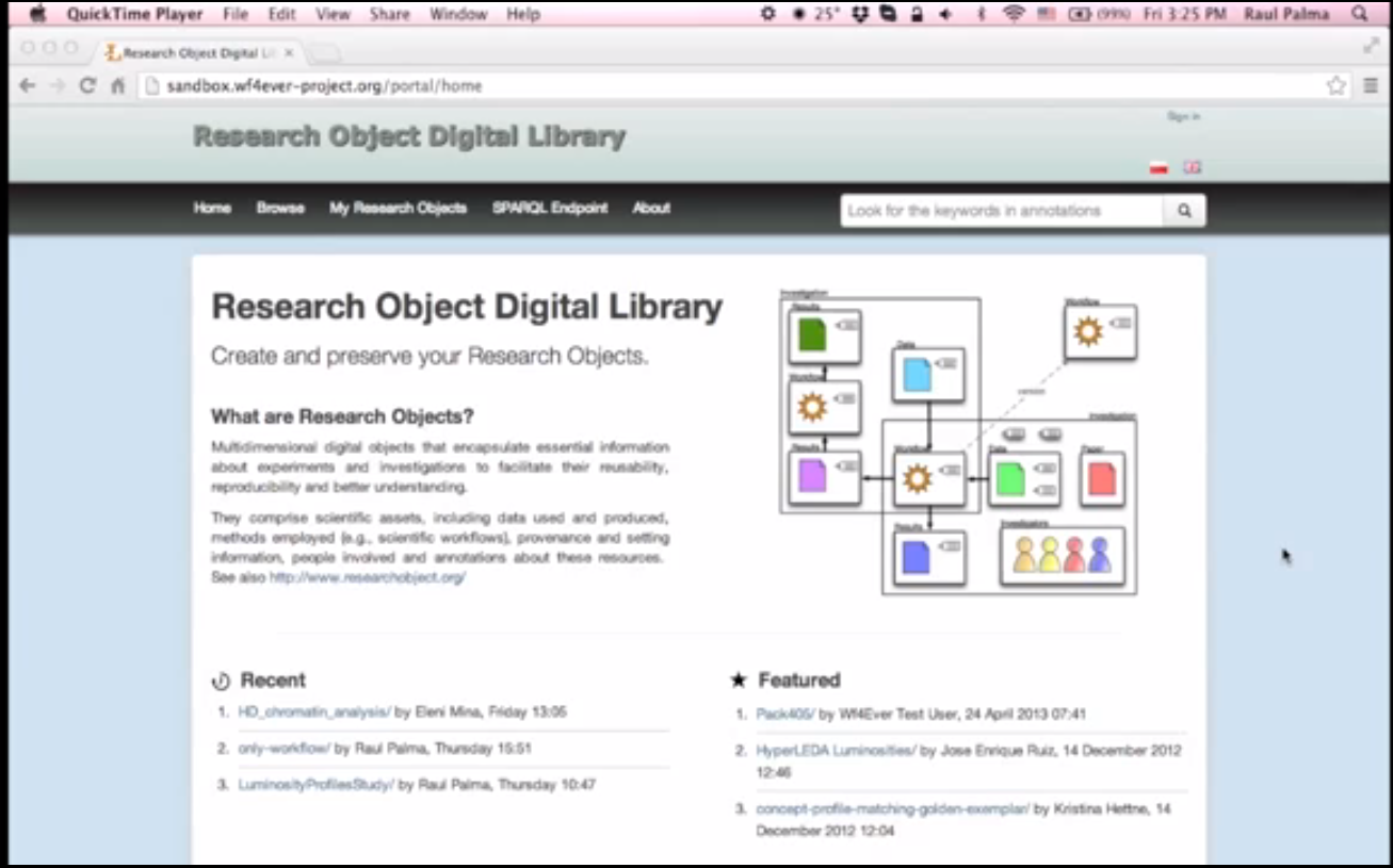 Screen Shot Research Object Digital Library Demo